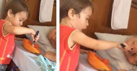 Photo of Bambino: nutre suo nonno e il video pieno di tenerezza a migliaia su Internet